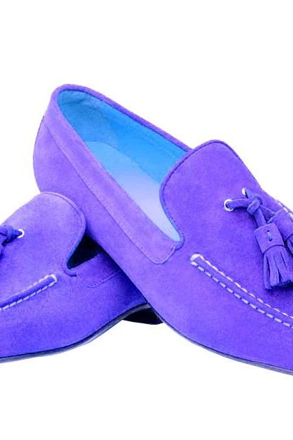 Handmade Purple Suede Vintage Leather Tassel Loafer Moccasins Formal Dress Shoes