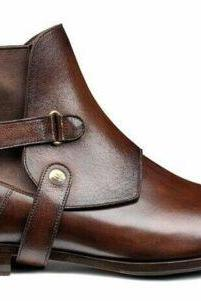 New Handmade Stylish Cover Chelsea Brown Pure Leather Ankle Boot for Men