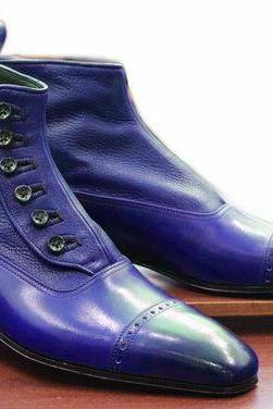 Hand Made Blue Leather Cap Toe Button Dress Formal Ankle Boot