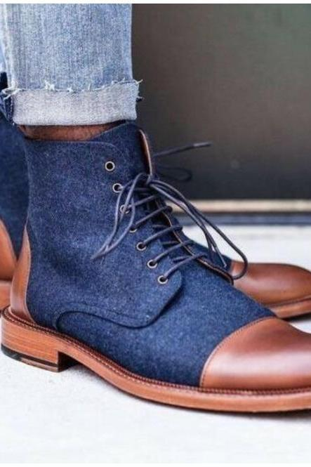 Handmade Blue Denim and Brown Leather Ankle Boots For Men, Ankle Boot