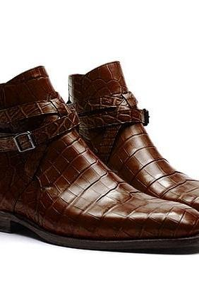 Handmade Crocodile Texture Jodhpurs Boots Dark Brown Leather Boot For Men
