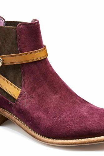 Handmade Men Jodhpurs Style Suede Leather Purple Ankle Boots Men Leather Boot