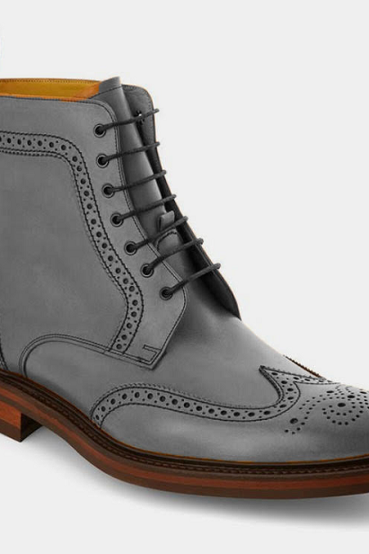 Men Gray Leather Wing Tip Brogue High Ankle Contrast Sole Casual Lace Up Boot