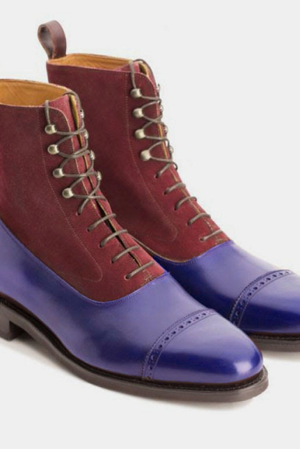 Long Boot Maroon & Purple Upper Suede Cap Toe Lace Up Leather Boot