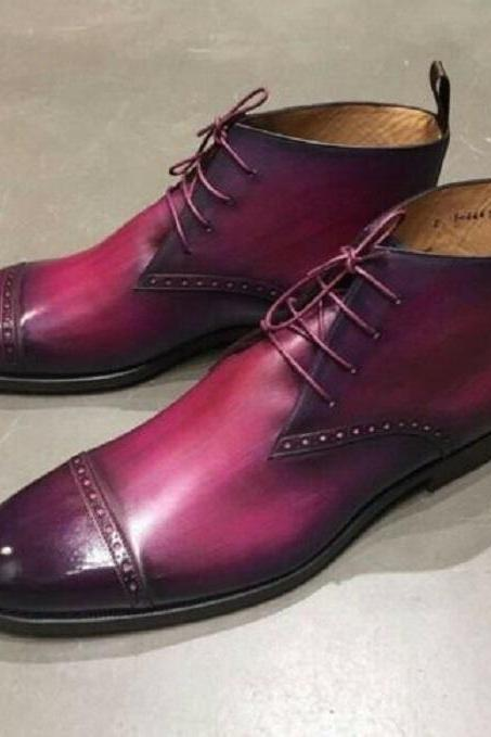 New Men's Handmade Burgundy Leather Boots, Men's Cap Toe Ankle High Lace Up Boots