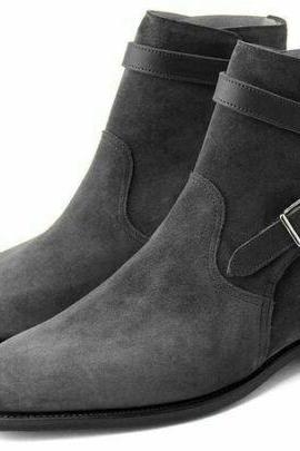 New Men's Jodhpur Gray Color Suede Leather High Ankle Buckle Strap Men Boots