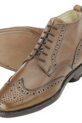 New Pure Handmade Ankle Oxford Camel Genuine Leather Wing Tip Brogue Lace up Boots for Men's