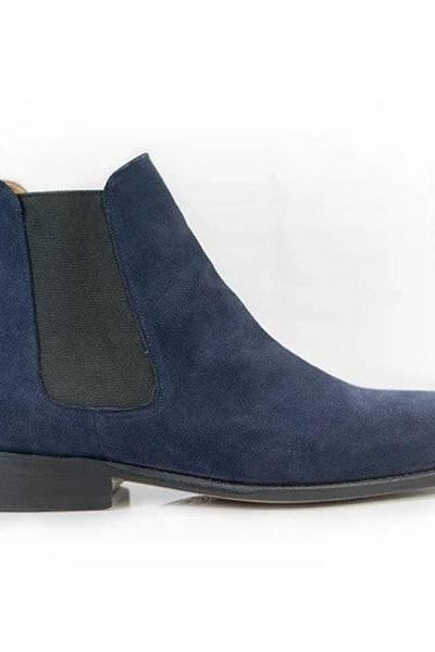 Handmade Chelsea Boot Royal Blue Color Side Elastic Slip On Suede Leather Boot For Men