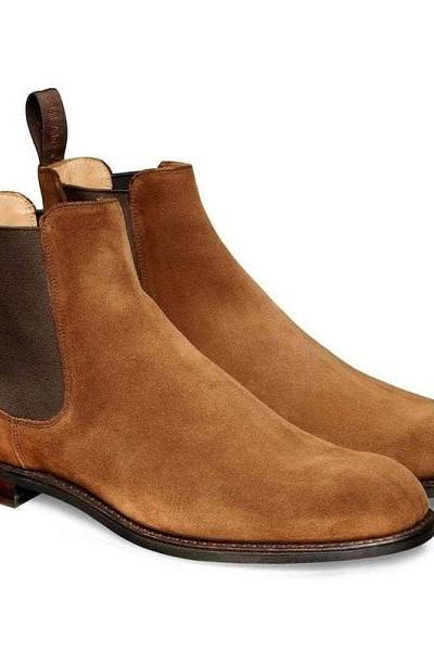 Handmade Chelsea Boot Camel Brown Color Side Elastic Slip On Suede Leather Boot For Men