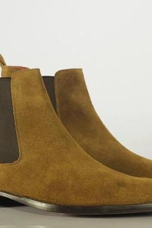 Handmade Chelsea Boot Brown Color Side Elastic Slip On Suede Leather Boot For Men