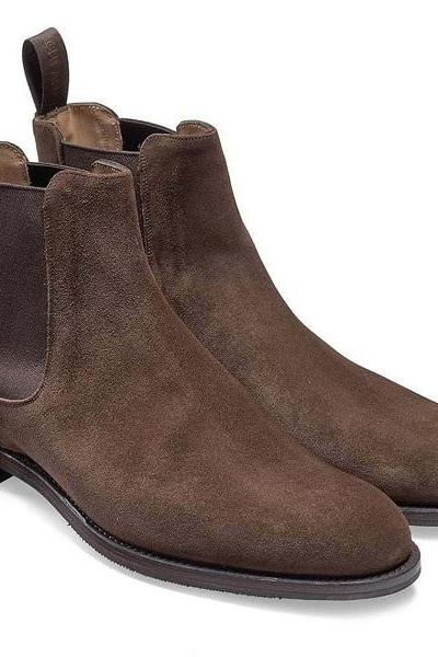 Handmade Chelsea Boot Cedar Brown Color Side Elastic Slip On Suede Leather Boot For Men