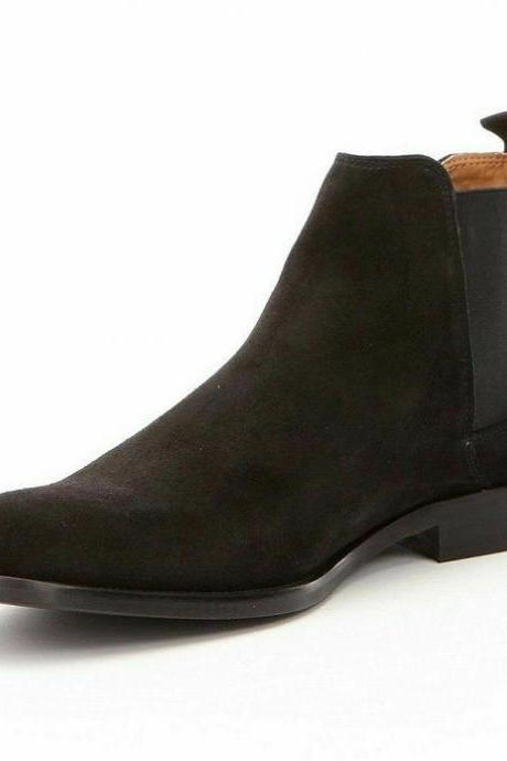 Handmade Chelsea Boot Black Color Side Elastic Slip On Suede Leather Boot For Men
