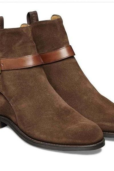 Handmade Jodhpur Boot Espresso Brown Color Side Elastic Slip On Suede Leather Boot For Men