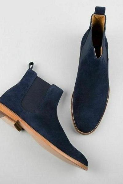 Handmade Chelsea Boot Blue Color Side Elastic Slip On Suede Leather Boot For Men