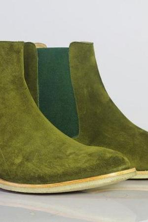 Handmade Chelsea Boot Olive Green Color Side Elastic Slip On Suede Leather Boot For Men