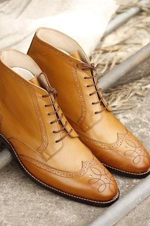 Ankle Boots Tan Color Wing Tip Brogue Leather Good Quality Lace Up Closure