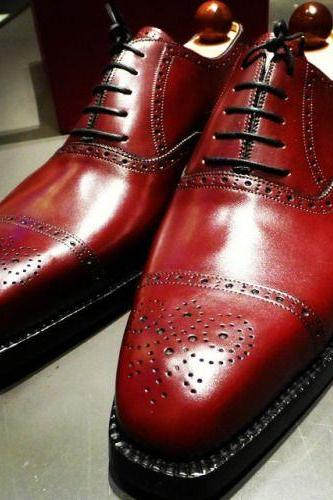 Burgundy Oxford Brogue Cap Toe Premium Quality Leather Handcrafted Men's Dress Shoes
