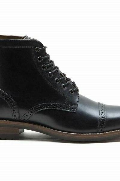 Men's Black Leather Cap Toe Boots New Smart Formal Brogue Combat Lace UP Ankle Boots