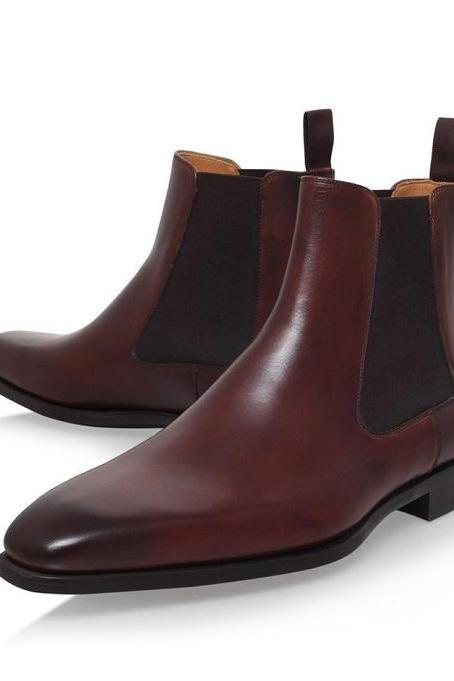 Handmade Chelsea Designing Boot, Men's Burgundy Color Leather Ankle High Boot