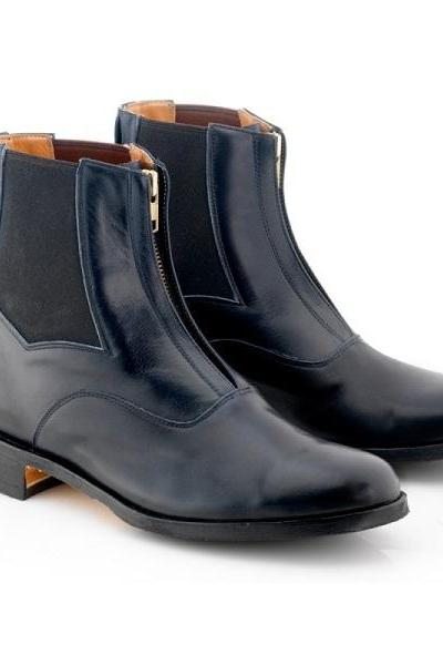 Blue Black Chelsea Vintage Leather Derby Toe Handmade Zipper Men's High Ankle Boots