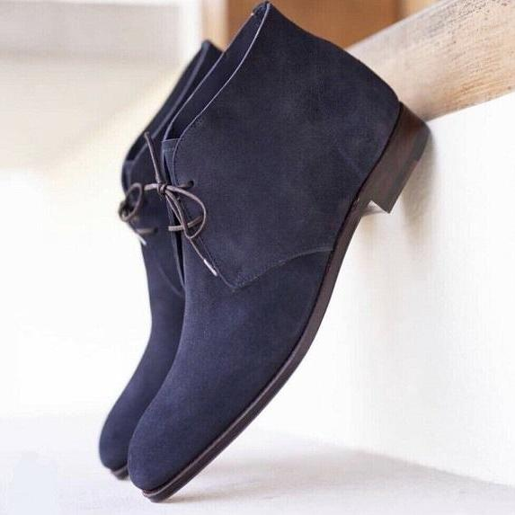 New Men's Chukka Collection Blue Color Lace Up Suede Leather Casual Boot