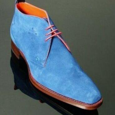 New Men's Chukka Collection sky Blue Color Lace Up Suede Leather Casual Boot