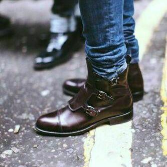 New Men's Ankle Monk Collection Dark Brown Color Buckle Closure Cap Toe Leather Casual Boot