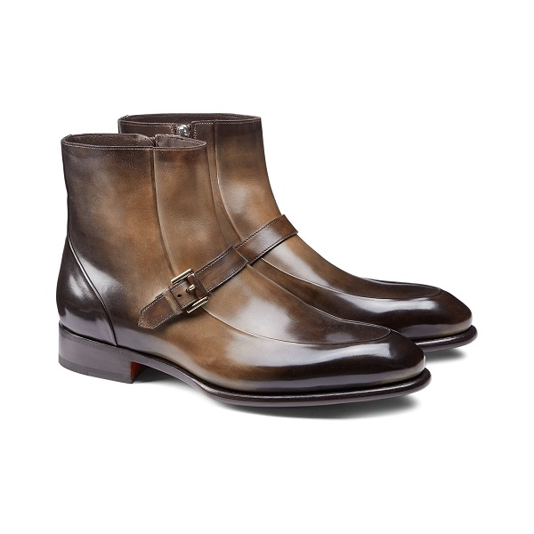 Two Tone Dark Brown Leather Boots for Men side Zipper Closure & strap Top Quality Shoe
