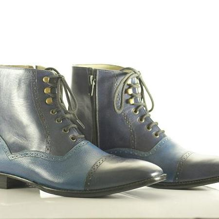 Bespoke Blue Cap Toe Ankle Leather Lace Up Men's Boot