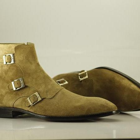 Ankle Monk 3 Strap Boots olive Green Suede Leather Good Quality Buckle Closure