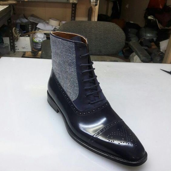 Handmade Men Three Toned Boots, Men Cap Toe Black Navy And Gray Tweed Lace Up Boot