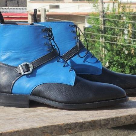 Handmade Men's Ankle High Boot, Men's Black Blue Leather Buckle Casual Boot.