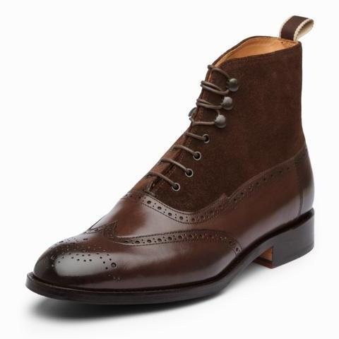 Handmade Men's Ankle High Boot, Wing Tip Brogue upper suede leather Formal Boot