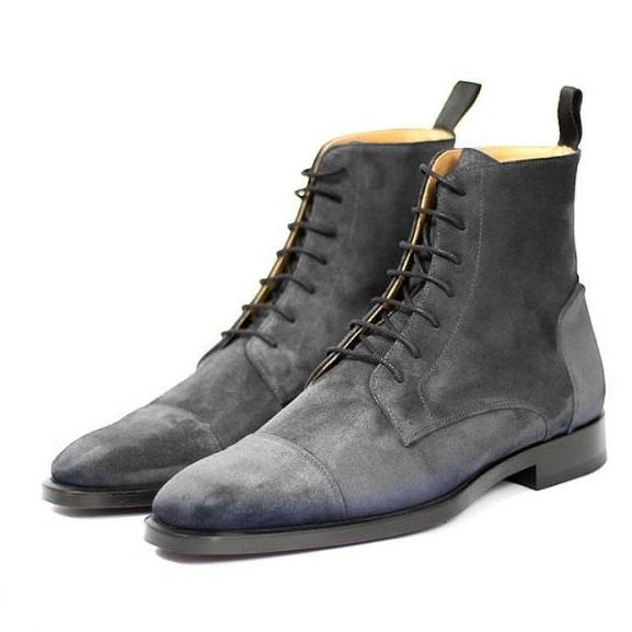 Handmade Men's Gray Ankle High Boot, Men's Suede Cap Toe Lace Up Boot