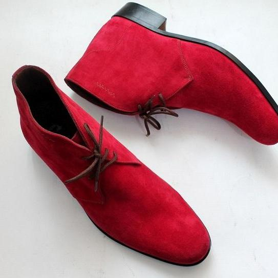 Handmade Men Red Color Chukka Lace Up Suede Leather Boots