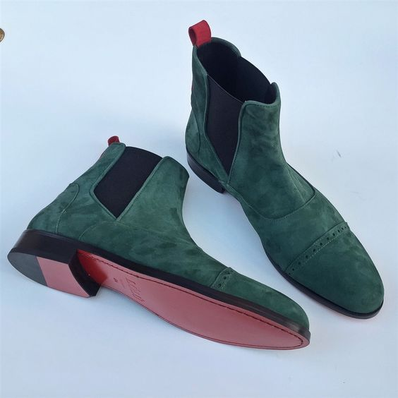Men's Green Full Suede Ankle Leather Classic Formal Handcrafted Boots