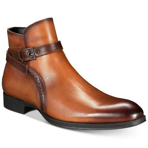 Men's Brown Jodhpurs High Ankle Rounded Buckle Strap Burnished Toe Leather Boots