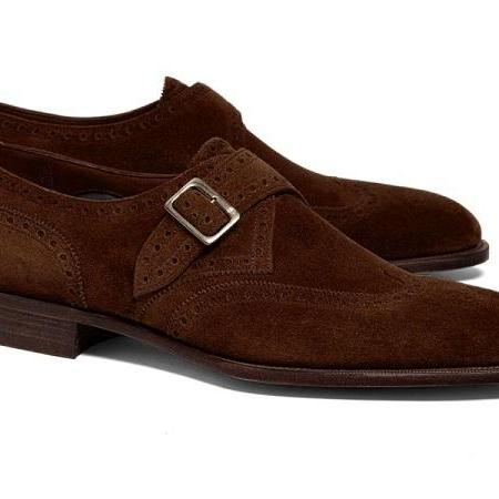 Hand Crafted Men's Brown Shoes Men's Suede Wing Tip Monk Straps Dress Shoes